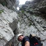 Gabriele Bonciani verso l'uscita dei camini finali